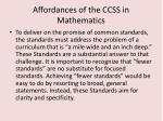 affordances of the ccss in mathematics