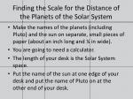 finding the scale for the distance of the planets of the solar system