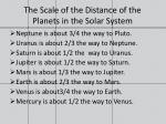 the scale of the distance of the planets in the solar system