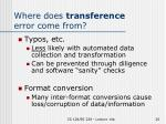 where does transference error come from