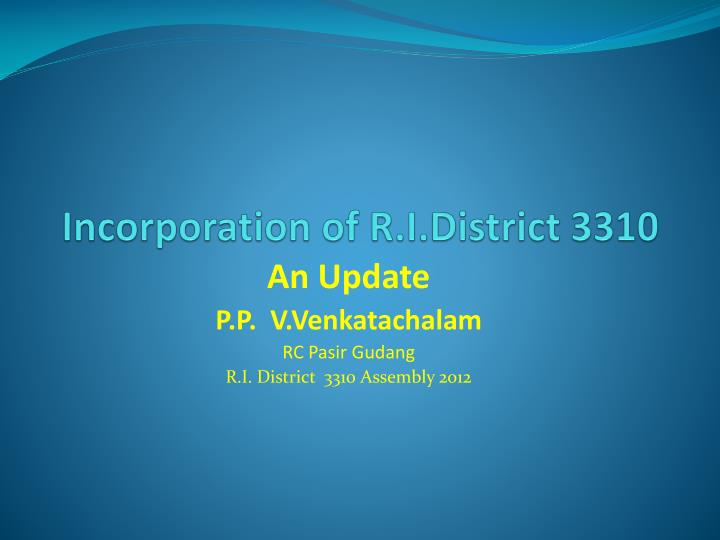 incorporation of r i district 3310 n.