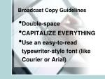 broadcast copy guidelines