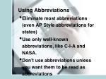 using abbreviations