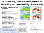 intraseasonal seasonal and interannual variability and predictability of monsoons