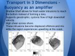 transport in 3 dimensions buoyancy as an amplifier