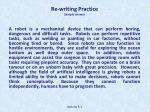re writing practice sample answer