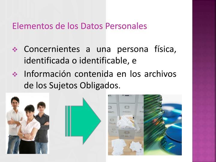 Elementos de los Datos Personales