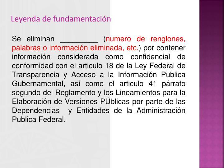 Leyenda de fundamentación