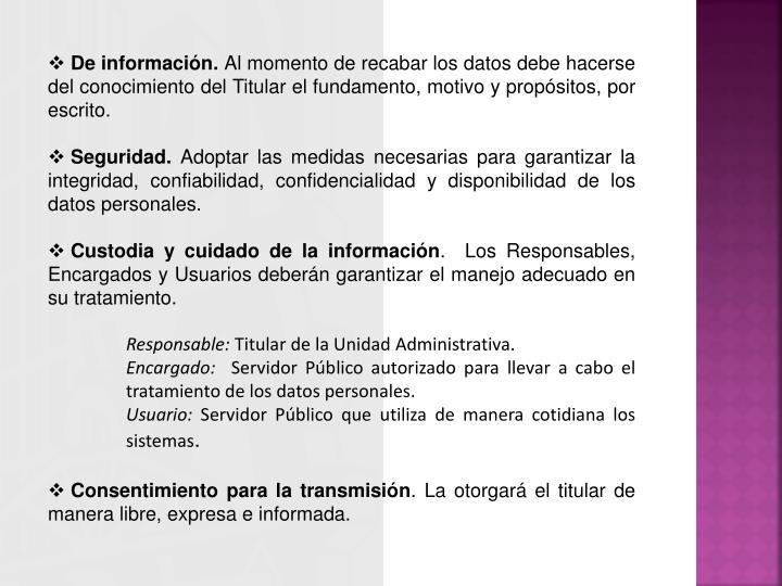 De información.