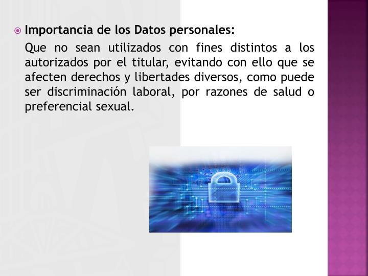 Importancia de los Datos personales: