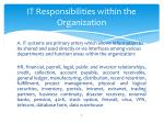 it responsibilities within the organization