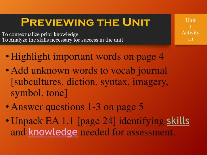 to contextualize prior knowledge to analyze the skills necessary for success in the unit n.