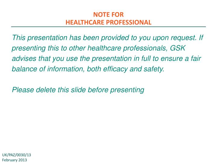 note for healthcare professional n.