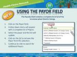 using the payor field