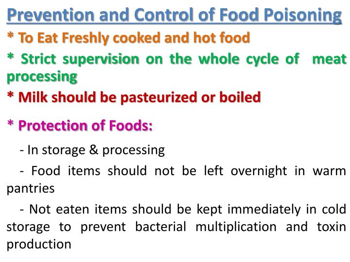 Prevention and Control of Food Poisoning