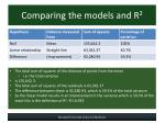 comparing the models and r 2