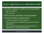 linear regression as a statistical model