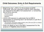 child outcomes entry exit requirements