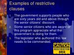 examples of restrictive clauses