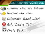 sam timetrack calendar data