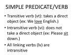 simple predicate verb