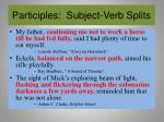 participles subject verb splits