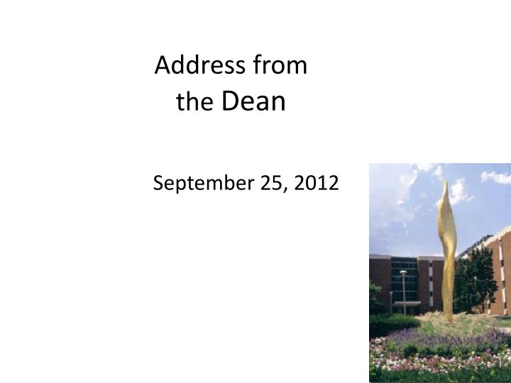 address from the dean n.