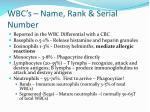 wbc s name rank serial number