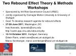 two rebound effect theory methods workshops