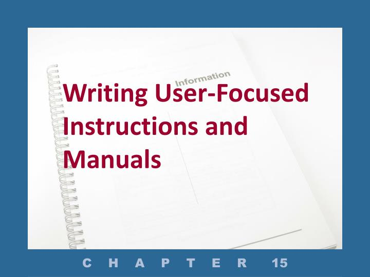 writing user focused instructions and manuals n.
