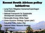 recent south african policy initiatives