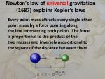 newton s law of universal gravitation 1687 explains kepler s laws