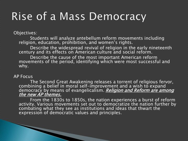 mass democracy The pathologies of the democratic public sphere, first articulated by plato in his attack on rhetoric, have pushed much of deliberative theory out of the mass public.