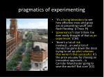 pragmatics of experimenting