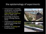 the epistemology of experiments