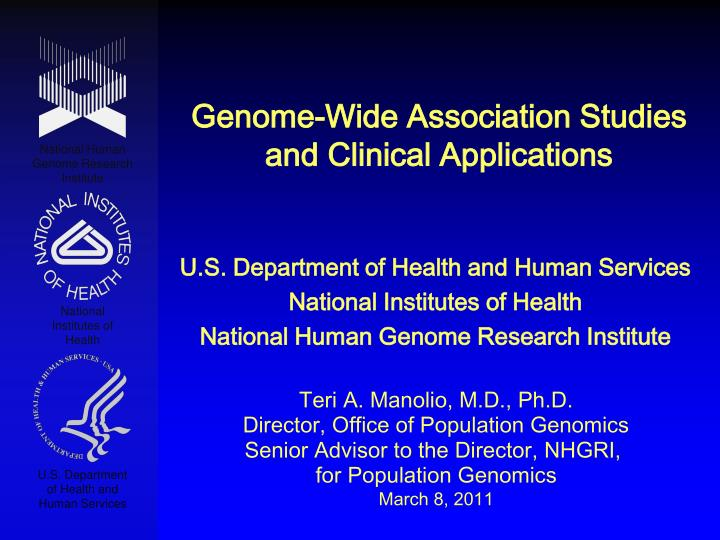 genome wide association studies and clinical applications n.