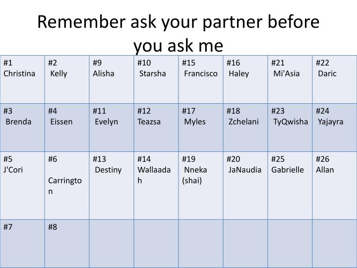 remember ask your partner before you ask me n.