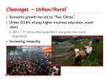 cleavages urban rural