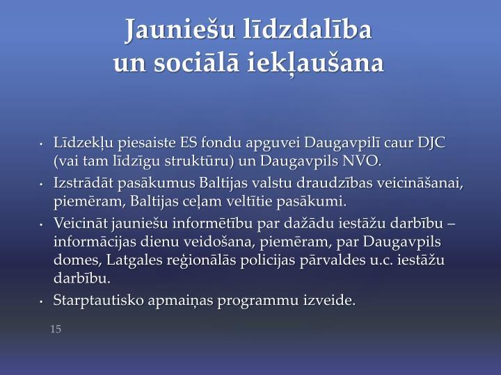 Līdzekļu piesaiste ES fondu apguvei Daugavpilī caur DJC (vai tam līdzīgu struktūru) un Daugavpils