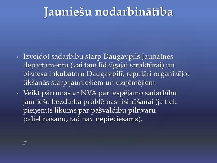 Izveidot sadarbību starp Daugavpils Jaunatnes