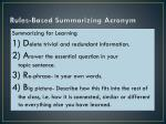 rules based summarizing acronym