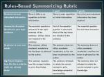 rules based summarizing rubric