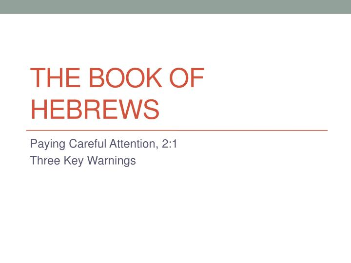 the book of hebrews n.