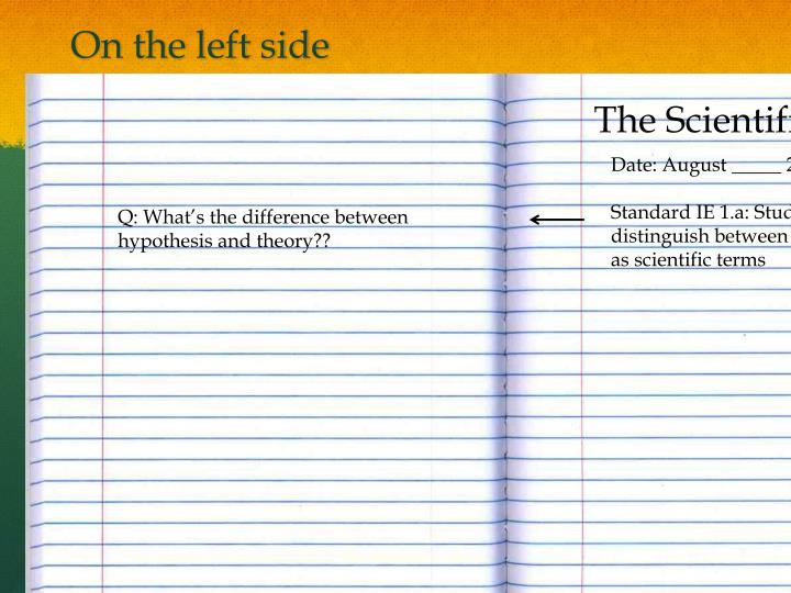 On the left side