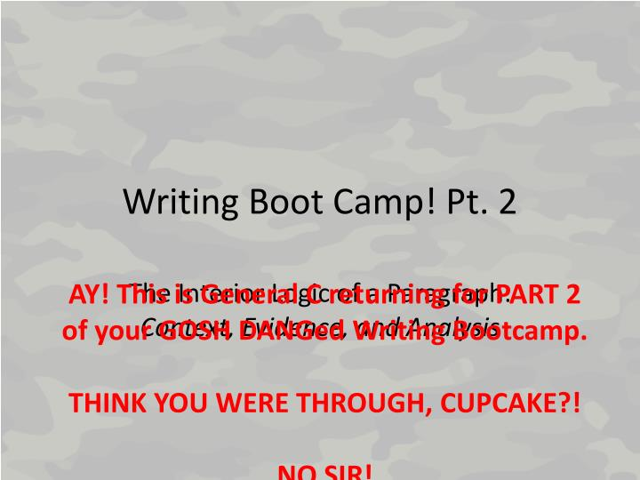 writing boot camp pt 2 n.