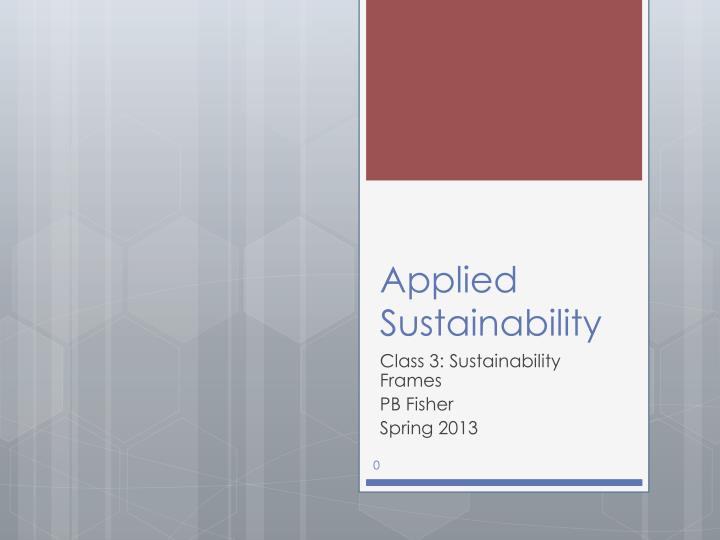 applied sustainability n.