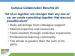 campus collaboration benefits all
