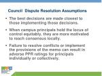 council dispute resolution assumptions