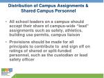 distribution of campus assignments shared campus personnel