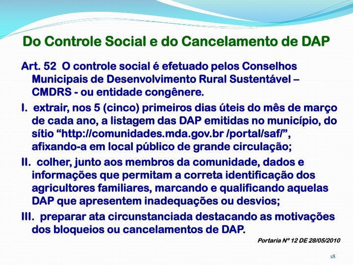 Do Controle Social e do Cancelamento de DAP